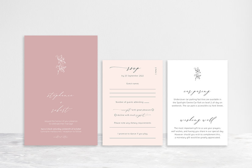 Stephanie 3 Card Invitation Suite