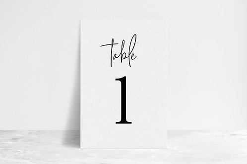Standard Table Numbers