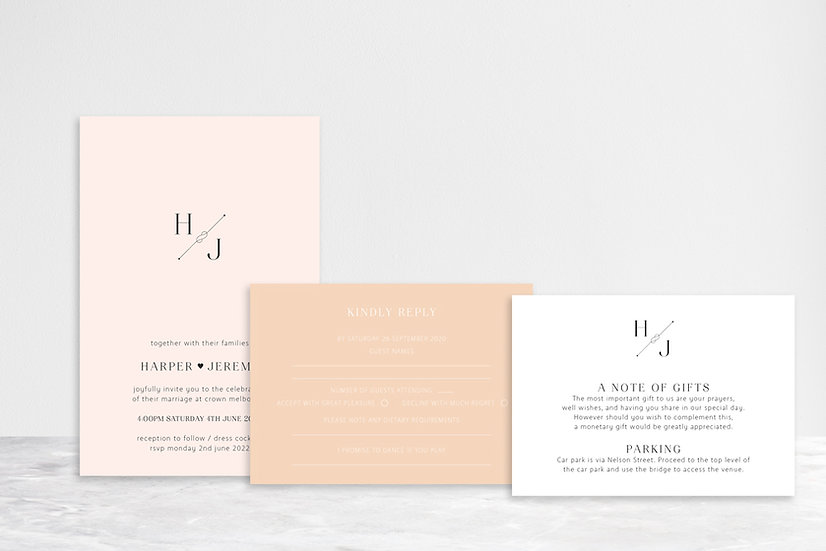 Harper 3 Card Invitation Suite