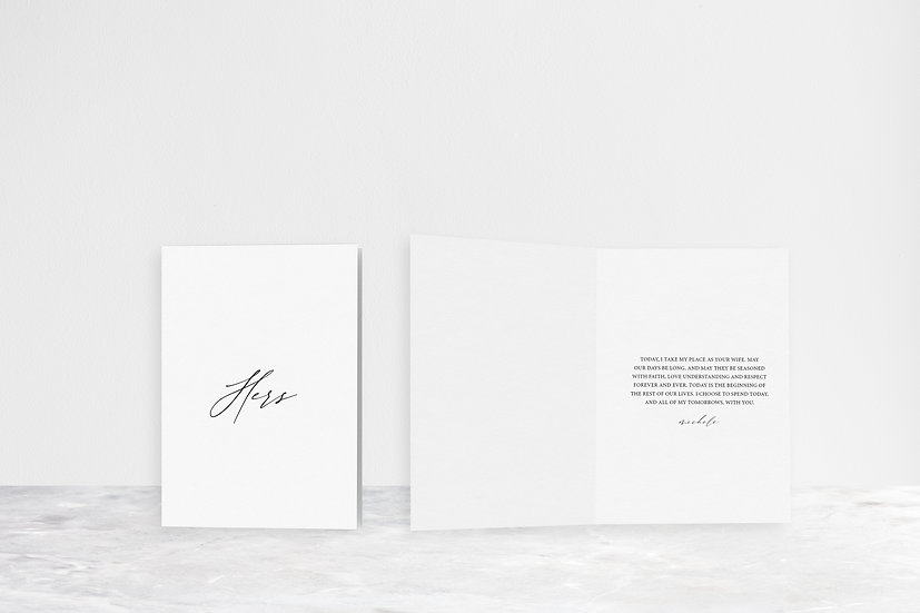 His, Hers, Our Vows Folded Card