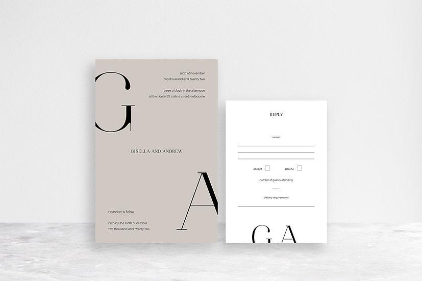Gisella 2 Card Invitation Suite