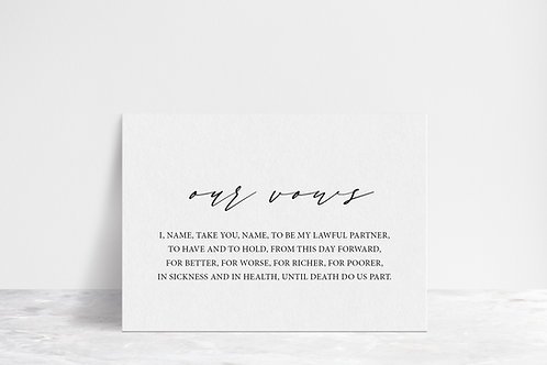 His, Hers, Our Vows Flat Card