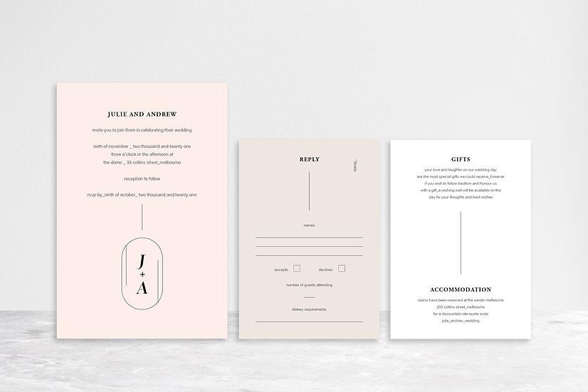 Julie 3 Card Invitation Suite
