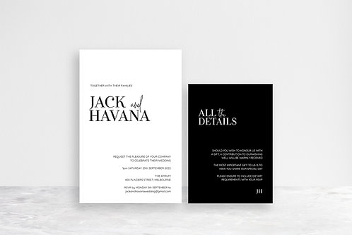 Havana 2 Card Invitation Suite