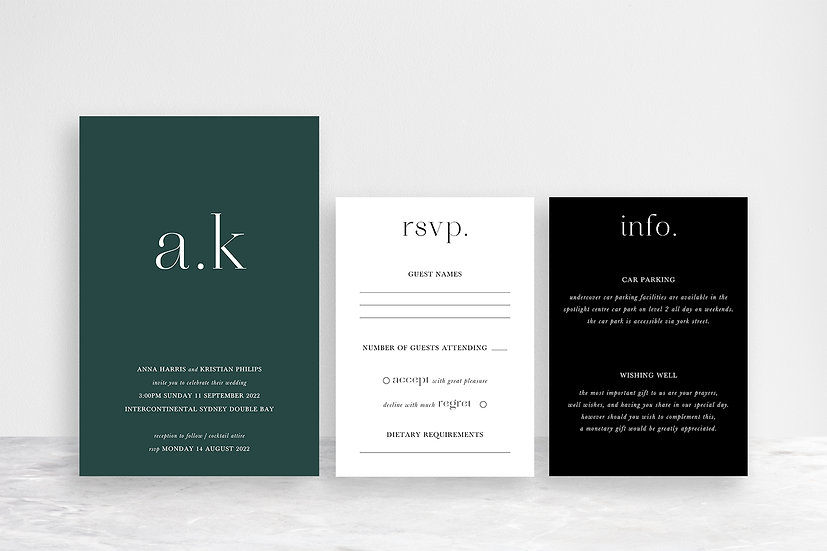 Anna 3 Card Invitation Suite