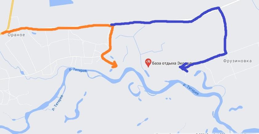 Карта подъезда к базе Экополис