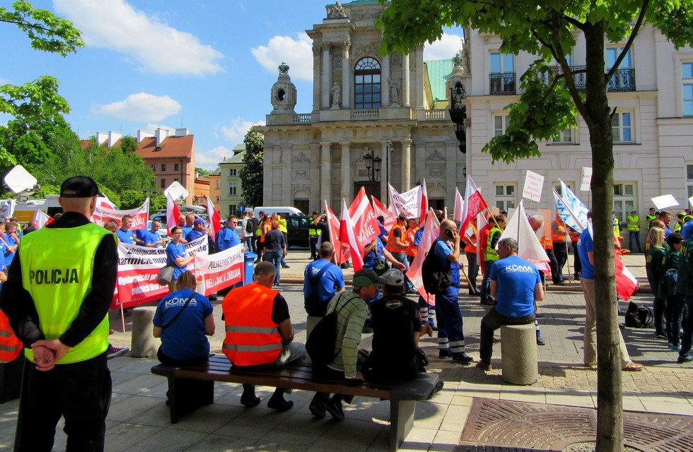 Забастовка в центре Варшавы