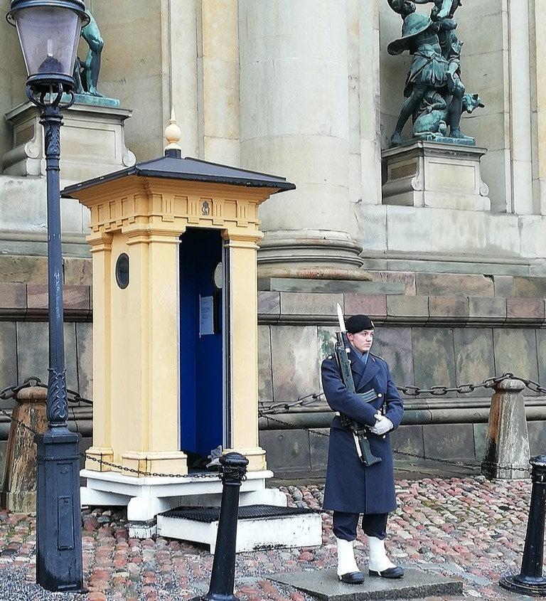 Девушка-гвардеец охраняет королевский дворец Швеции