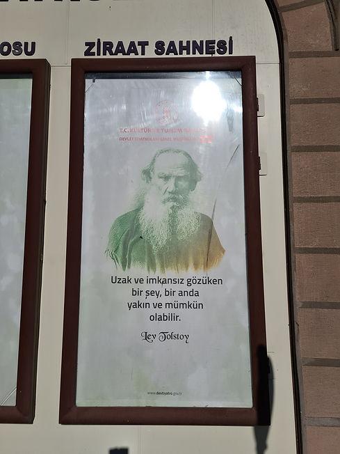 Лев Толстой на стене библиотеки