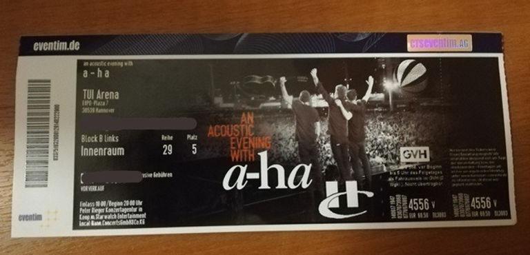 Билет на концерт группы A-ha