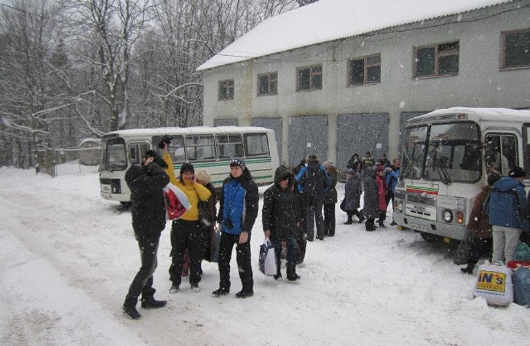Остановка автобуса у горы Синяк