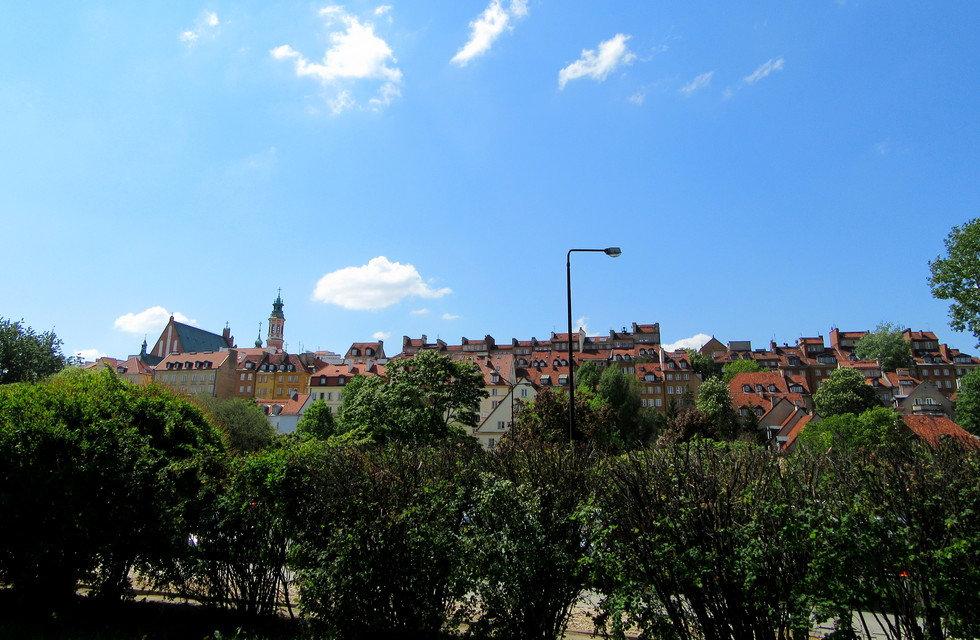 Вид на старый город в Варшаве