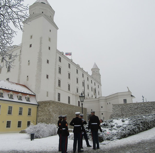 Американские моряки на экскурсии в Братиславском граде
