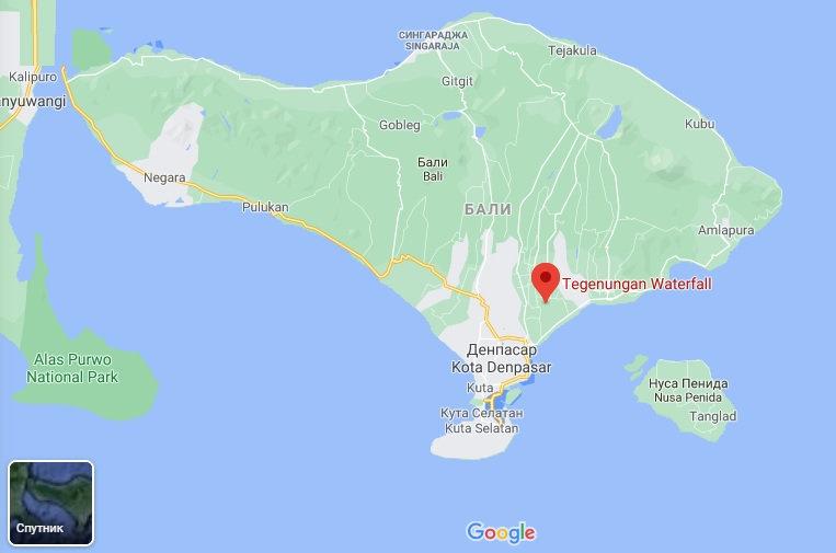 Карта расположения водопада Тегенунган на Бали