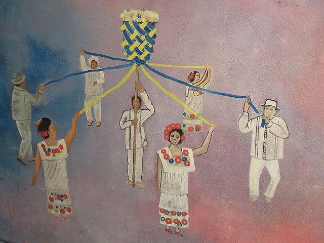 Мексиканцы с лентами цвета украинского флага