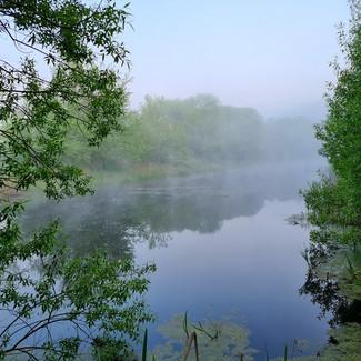 Озеро в тумане возле базы Экополис