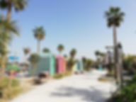 Цветные домики на пляже Ла Мер, Дубаи