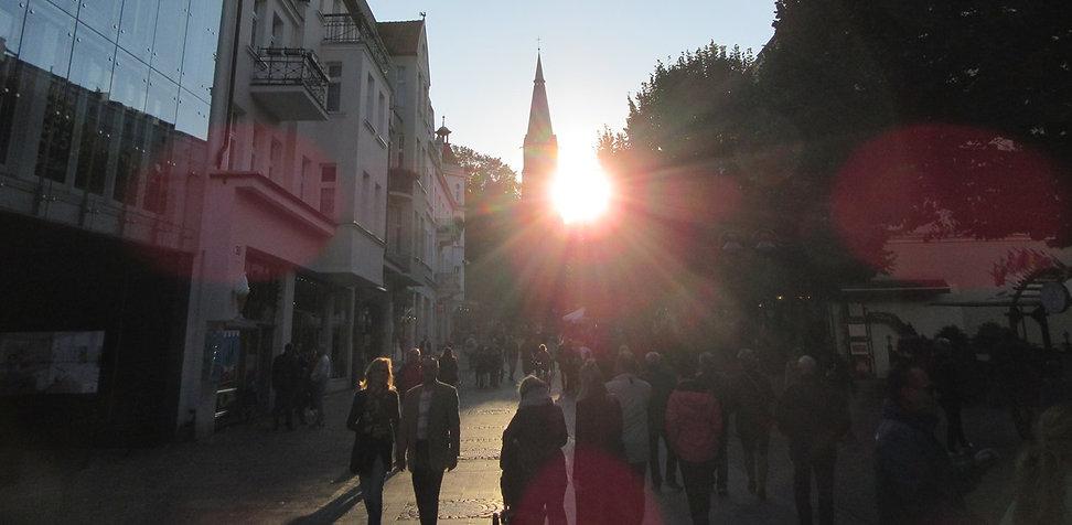 Главная улица Сопота на закате