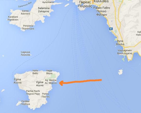 Остров Эгина на карте