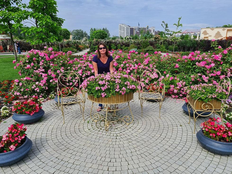 Терраса из роз в парке Камелия