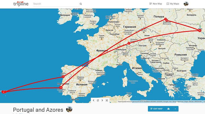 Наш маршрут из Киева до Азорских островов