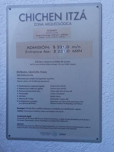 Цена входных билетов в Чичен-Ицу