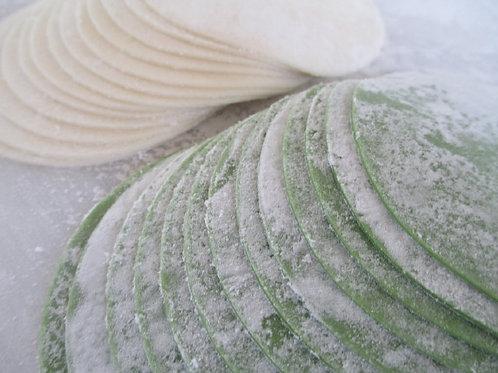 グリーン餃子の皮(95mm)300枚 緑色鮮やか