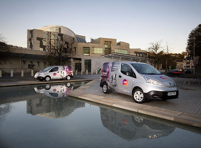 Mitie's electric van outside Holyrood.jp