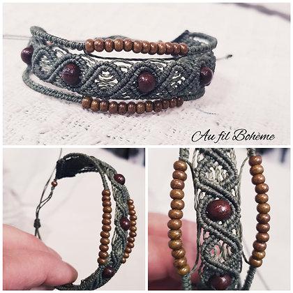 Bracelet macramé kaki