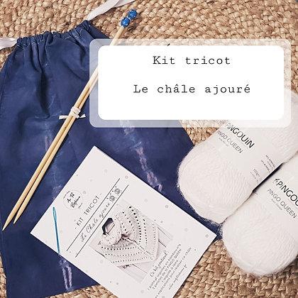 Kit tricot le châle ajouré - Biche