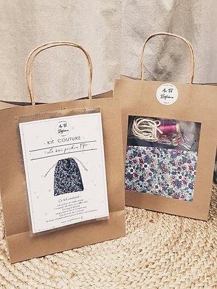 Kit couture - le sac pochon - Liberty bleu