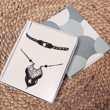 Coffret cadeaux bijoux ethnique - kaki