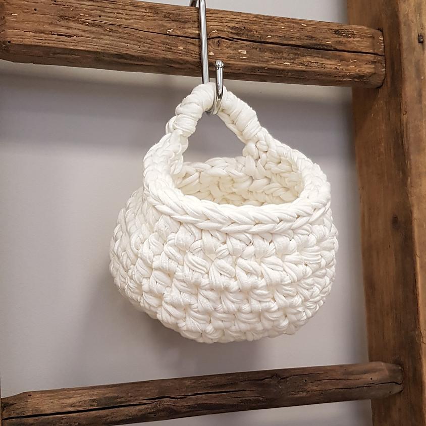Atelier crochet : le panier à suspendre