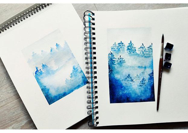 Aquarelle Fanny montagnes forets Bleues.