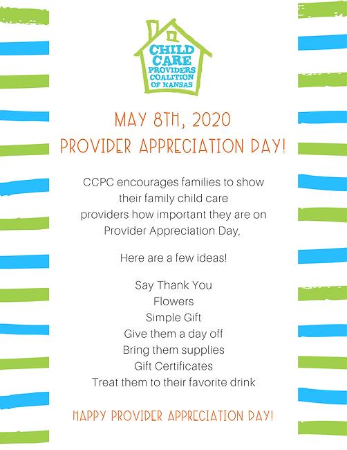 May 8th, 2020 is Provider Apprecation Da