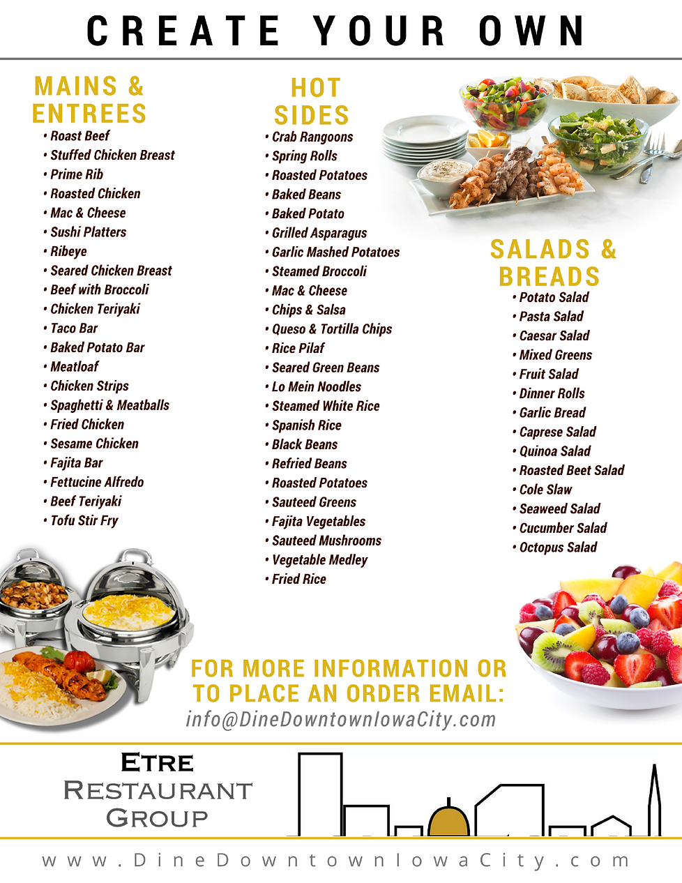 Dine Downtown Iowa City customizable catering menus are available to meet any taste and budget.  Email the Etre Restaurant Group at info@dinedowntowniowacity.com to learn more!