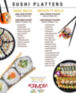 Formosa and it's award winning sushi is one of the many featured menu items the Etre Restaurant Group offers for it's catered events.  Customize your Sushi Platter to suit your tastes! - Dine Downtown Iowa City