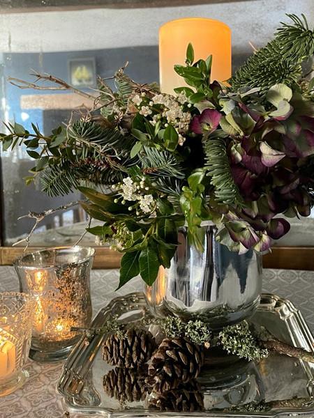 Silver vase arrangement