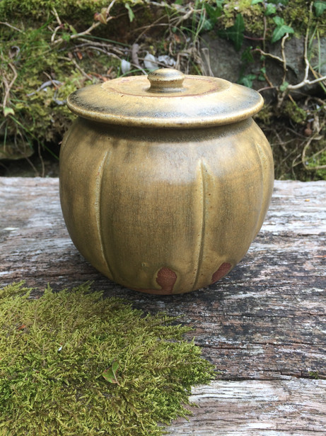 Lidded jar, local clay and wood ash glaz