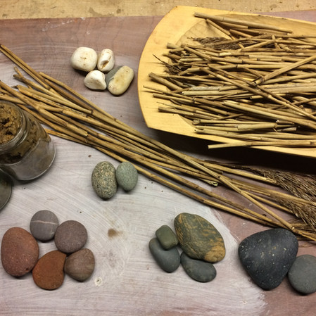 Reeds, pebbles and clay samples