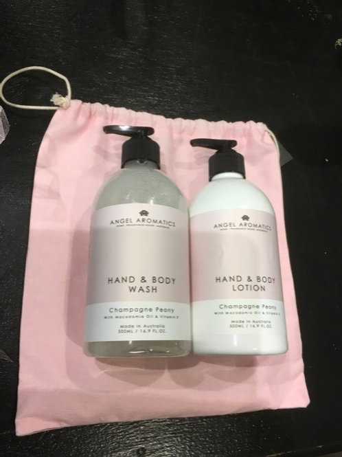 Angel Aromatics Hand & Body Wash/ Lotion Gift Set Champagne Peony