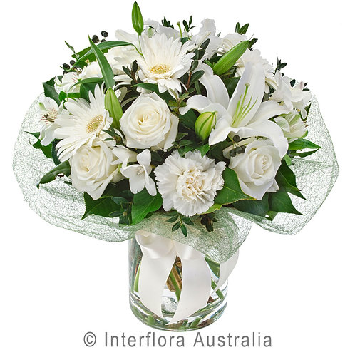 Floral DeVine Hunters Hill Florist White Flower Bouquet Daily Delivery Gladesville Woolwich Lane Cove Putney Drummoyne Ryde
