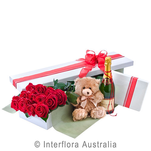 Hunters Hill Grand Seduction Champagne Chocolate Red Pink White Rose Box Dozen 12 24 Gladesville Woolwich Putney Drummoyne