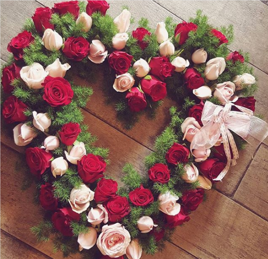 Premium Red Heart Wreath