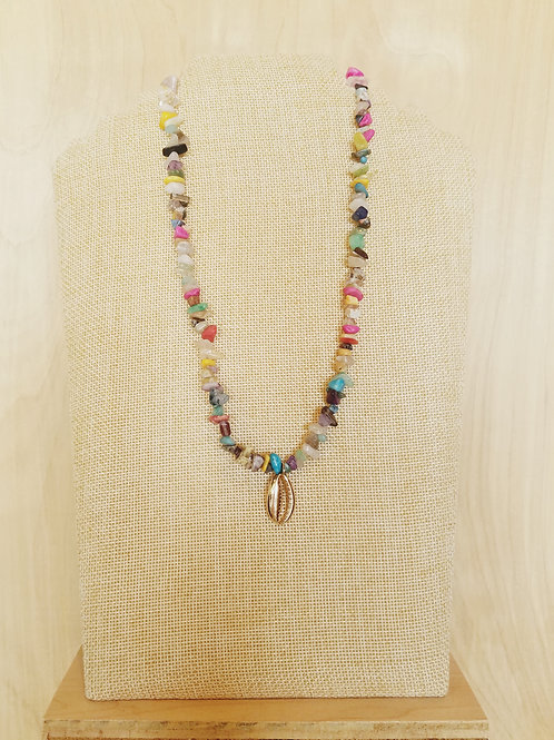 Stone & Cowrie Shell Necklace