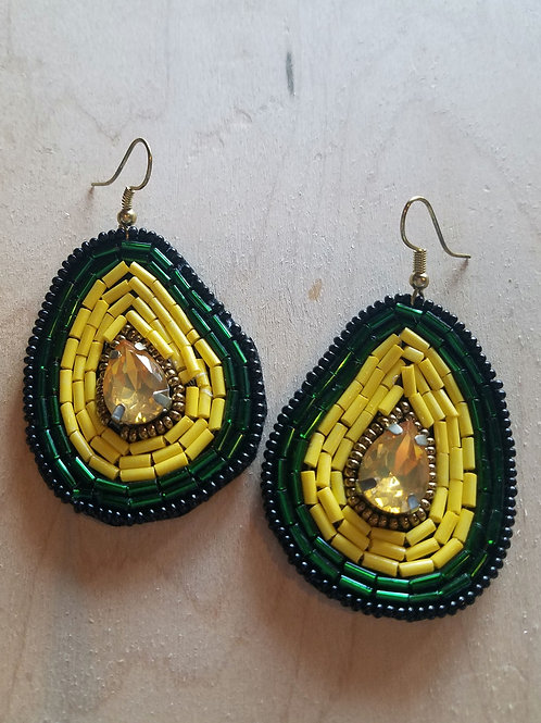 Avocado Beaded Earrings