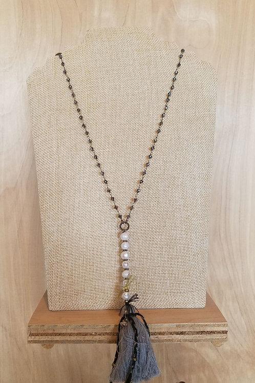 Long Tassel & Pearl Necklace