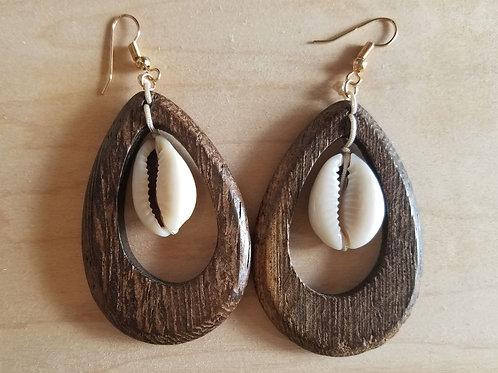 Wood & Cowrie Drop Earrings