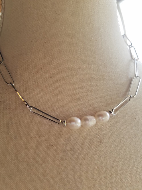 Silver Chain & Pearl Necklace