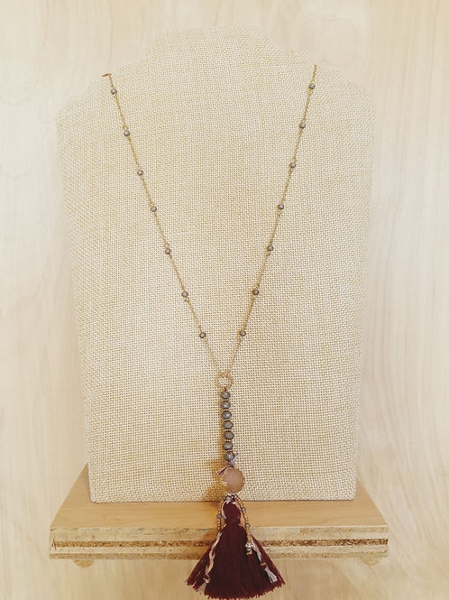 Long Tassel & Stone Necklace
